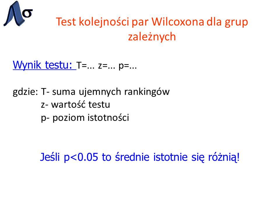 Test kolejności par Wilcoxona dla grup zależnych Wynik testu: T=... z=... p=... gdzie: T- suma ujemnych rankingów z- wartość testu p- poziom istotnośc