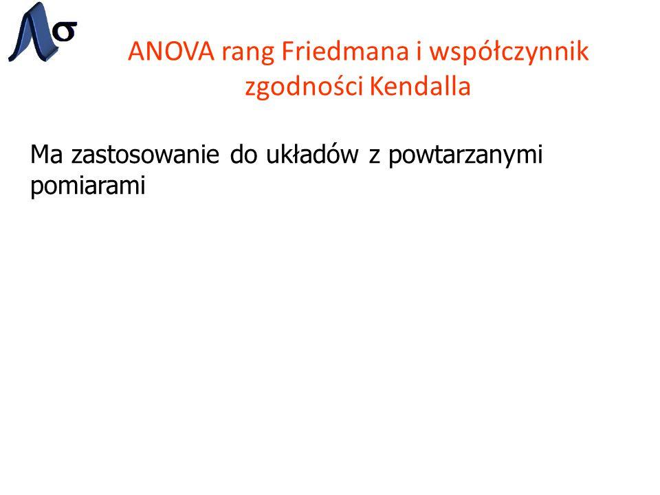 ANOVA rang Friedmana i współczynnik zgodności Kendalla Ma zastosowanie do układów z powtarzanymi pomiarami
