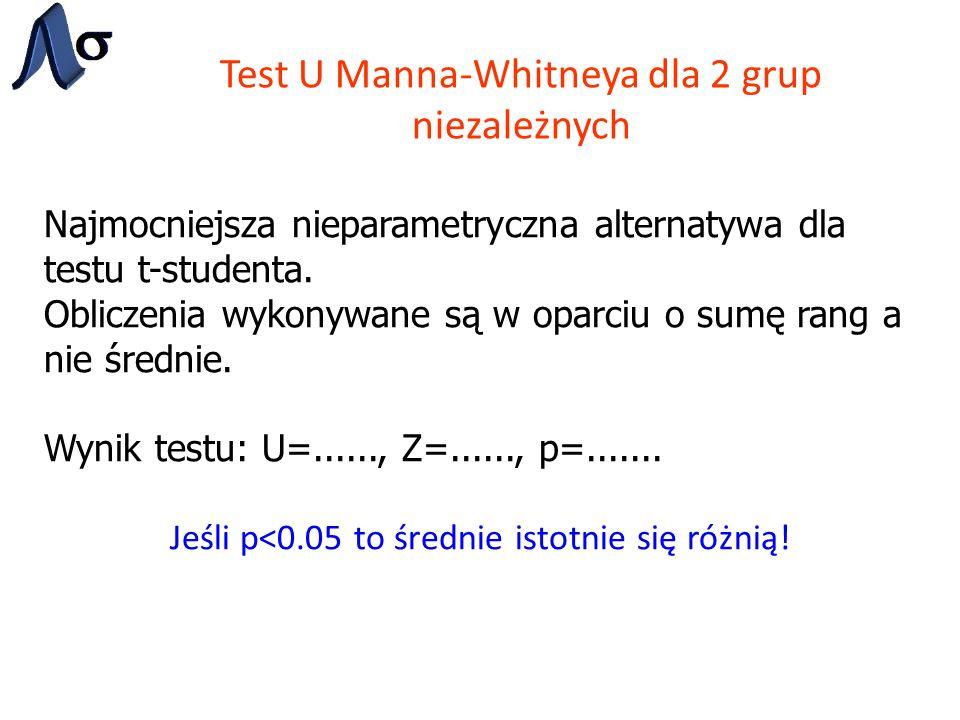Test U Manna-Whitneya dla 2 grup niezależnych Najmocniejsza nieparametryczna alternatywa dla testu t-studenta. Obliczenia wykonywane są w oparciu o su