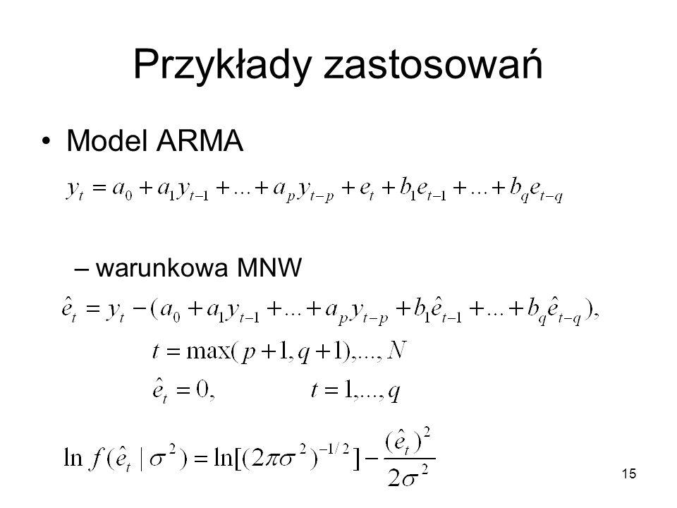 15 Przykłady zastosowań Model ARMA –warunkowa MNW