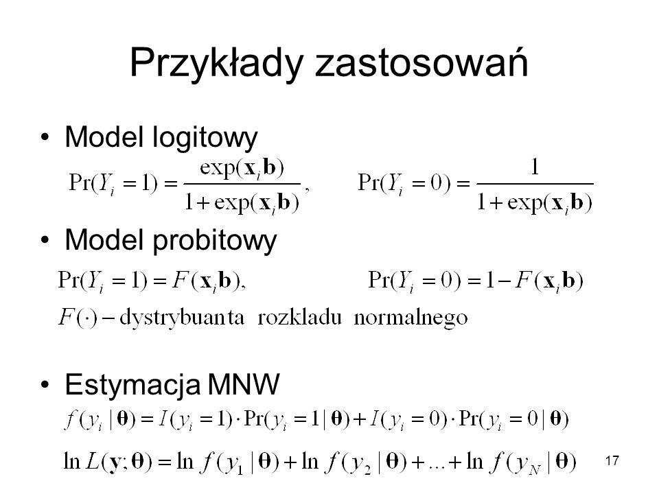 17 Przykłady zastosowań Model logitowy Model probitowy Estymacja MNW