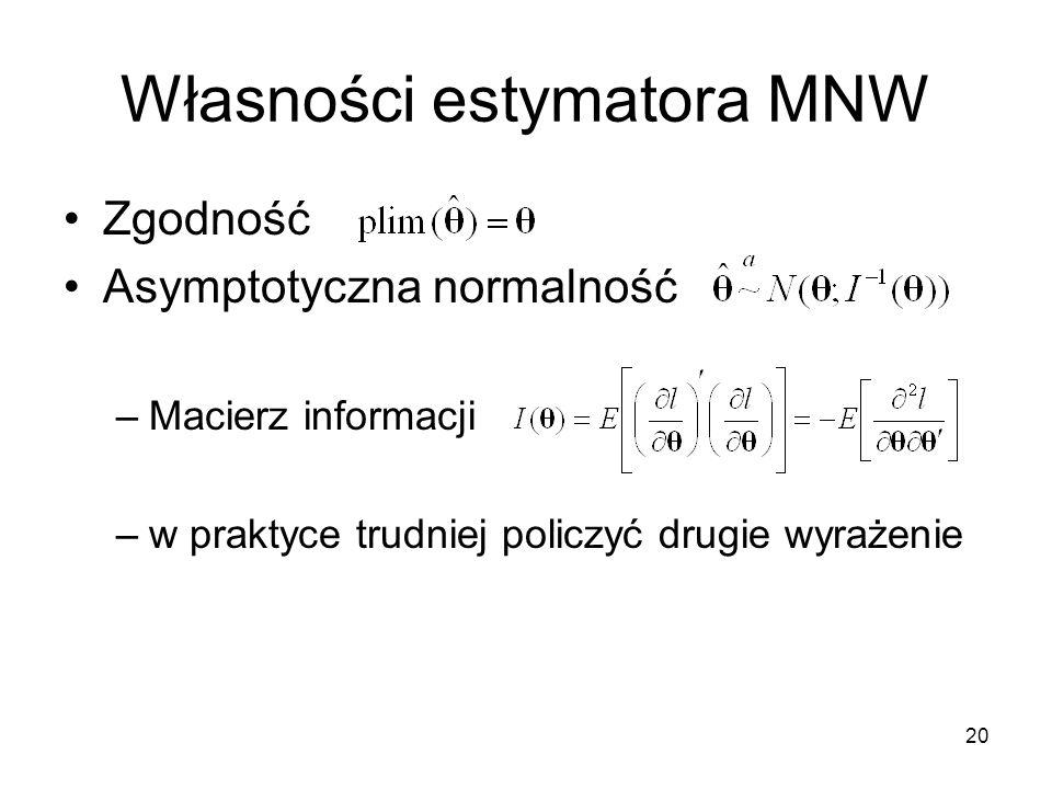 20 Własności estymatora MNW Zgodność Asymptotyczna normalność –Macierz informacji –w praktyce trudniej policzyć drugie wyrażenie