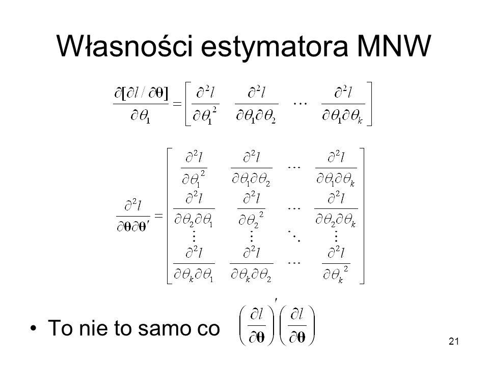 21 Własności estymatora MNW To nie to samo co