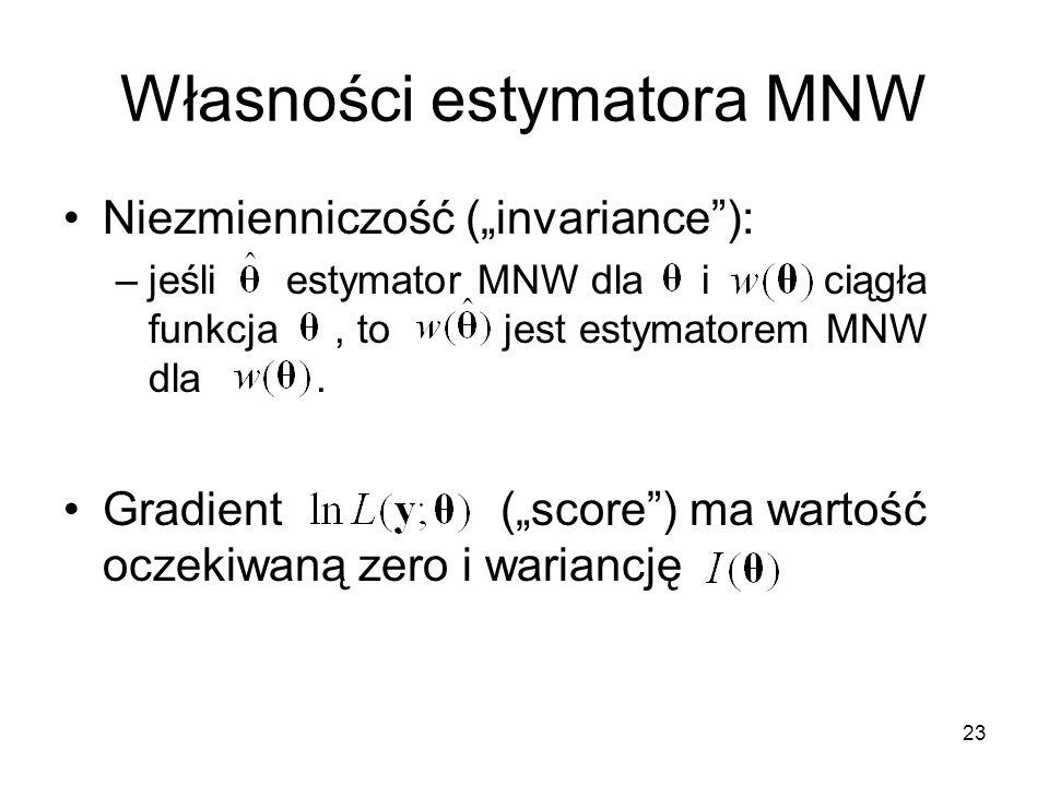 """23 Własności estymatora MNW Niezmienniczość (""""invariance""""): –jeśli estymator MNW dla i ciągła funkcja, to jest estymatorem MNW dla. Gradient (""""score"""")"""