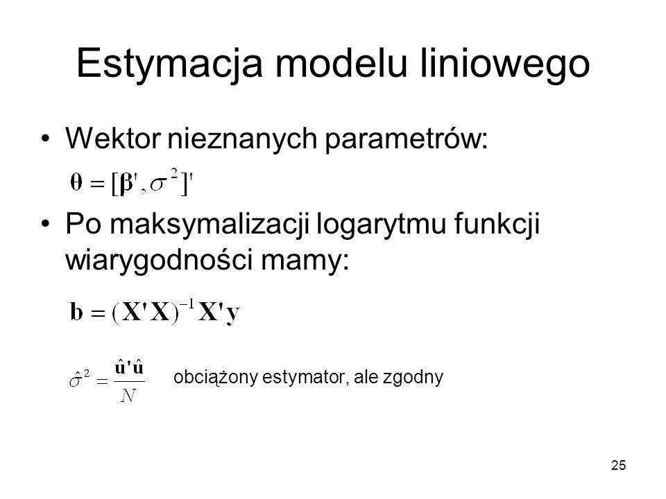 25 Estymacja modelu liniowego Wektor nieznanych parametrów: Po maksymalizacji logarytmu funkcji wiarygodności mamy: obciążony estymator, ale zgodny