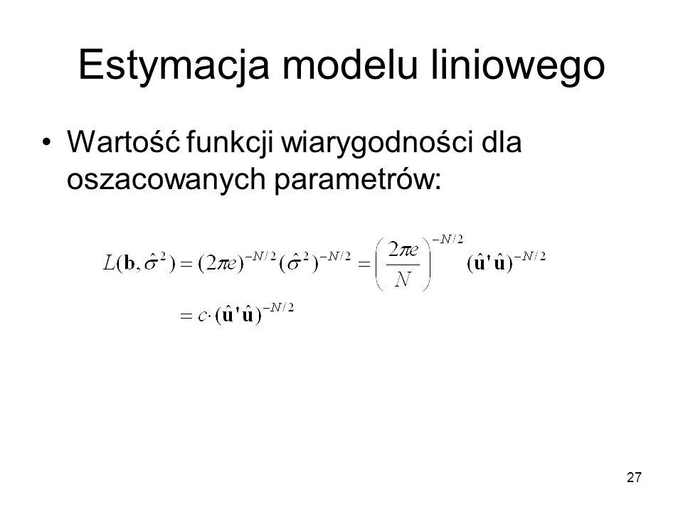 27 Estymacja modelu liniowego Wartość funkcji wiarygodności dla oszacowanych parametrów: