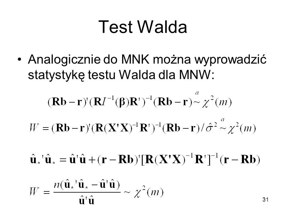 31 Test Walda Analogicznie do MNK można wyprowadzić statystykę testu Walda dla MNW: