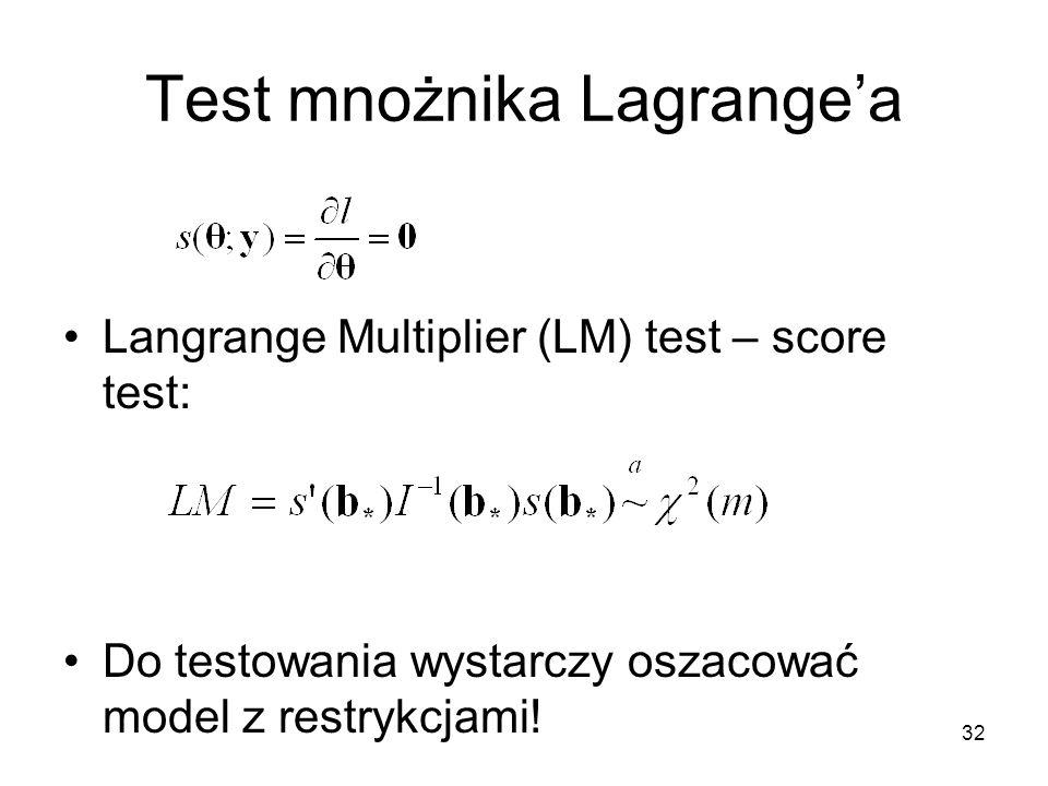 32 Test mnożnika Lagrange'a Langrange Multiplier (LM) test – score test: Do testowania wystarczy oszacować model z restrykcjami!