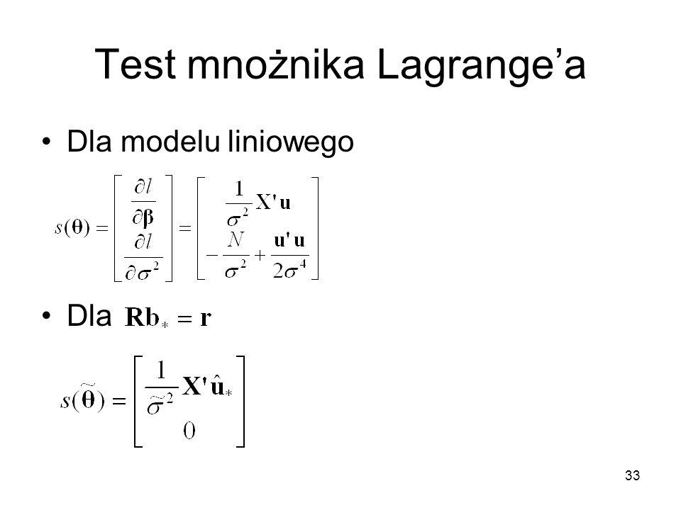 33 Test mnożnika Lagrange'a Dla modelu liniowego Dla