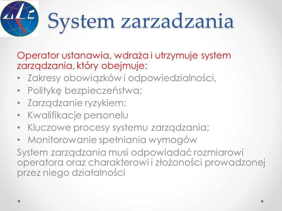 System zarzadzania Operator ustanawia, wdraża i utrzymuje system zarządzania, który obejmuje: Zakresy obowiązków i odpowiedzialności, Politykę bezpiec