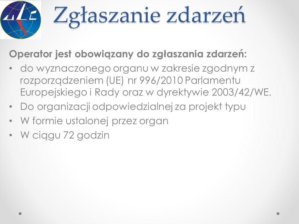 Zgłaszanie zdarzeń Operator jest obowiązany do zgłaszania zdarzeń: do wyznaczonego organu w zakresie zgodnym z rozporządzeniem (UE) nr 996/2010 Parlam