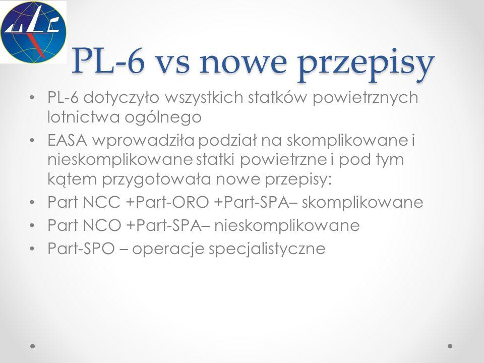 PL-6 vs nowe przepisy PL-6 dotyczyło wszystkich statków powietrznych lotnictwa ogólnego EASA wprowadziła podział na skomplikowane i nieskomplikowane s