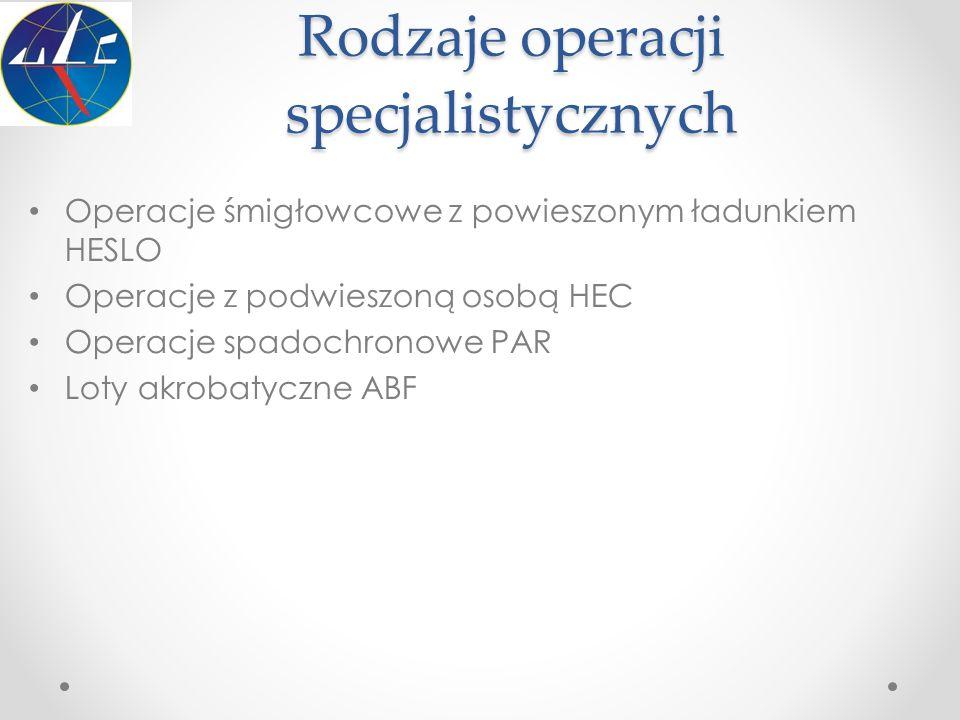 Rodzaje operacji specjalistycznych Operacje śmigłowcowe z powieszonym ładunkiem HESLO Operacje z podwieszoną osobą HEC Operacje spadochronowe PAR Loty