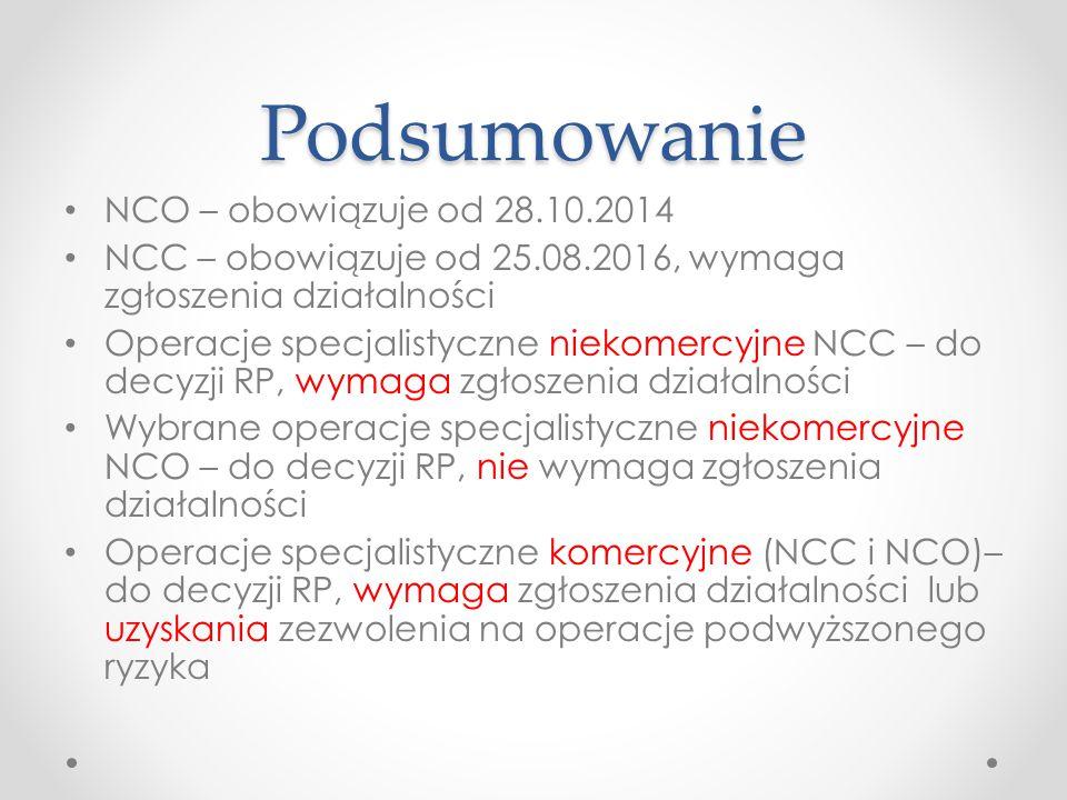Podsumowanie NCO – obowiązuje od 28.10.2014 NCC – obowiązuje od 25.08.2016, wymaga zgłoszenia działalności Operacje specjalistyczne niekomercyjne NCC