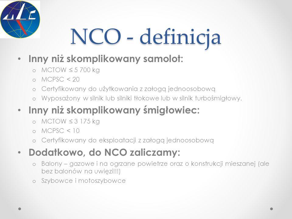 NCO - definicja Inny niż skomplikowany samolot: o MCTOW ≤ 5 700 kg o MCPSC < 20 o Certyfikowany do użytkowania z załogą jednoosobową o Wyposażony w si