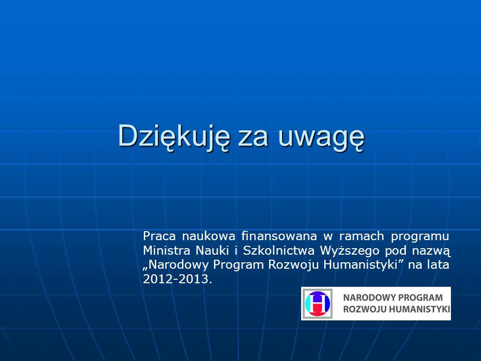 """Dziękuję za uwagę Praca naukowa finansowana w ramach programu Ministra Nauki i Szkolnictwa Wyższego pod nazwą """"Narodowy Program Rozwoju Humanistyki na lata 2012-2013."""