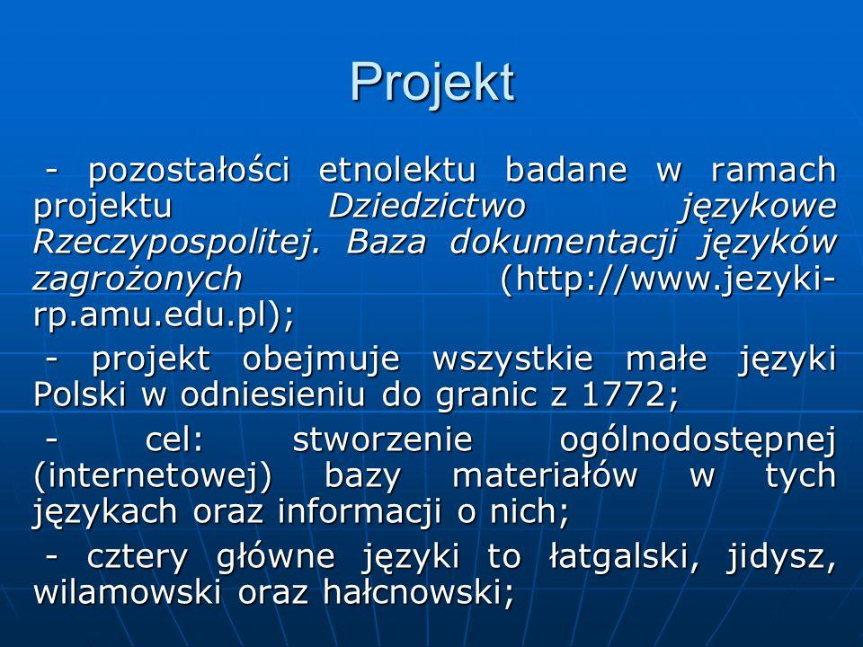 Projekt - pozostałości etnolektu badane w ramach projektu Dziedzictwo językowe Rzeczypospolitej.