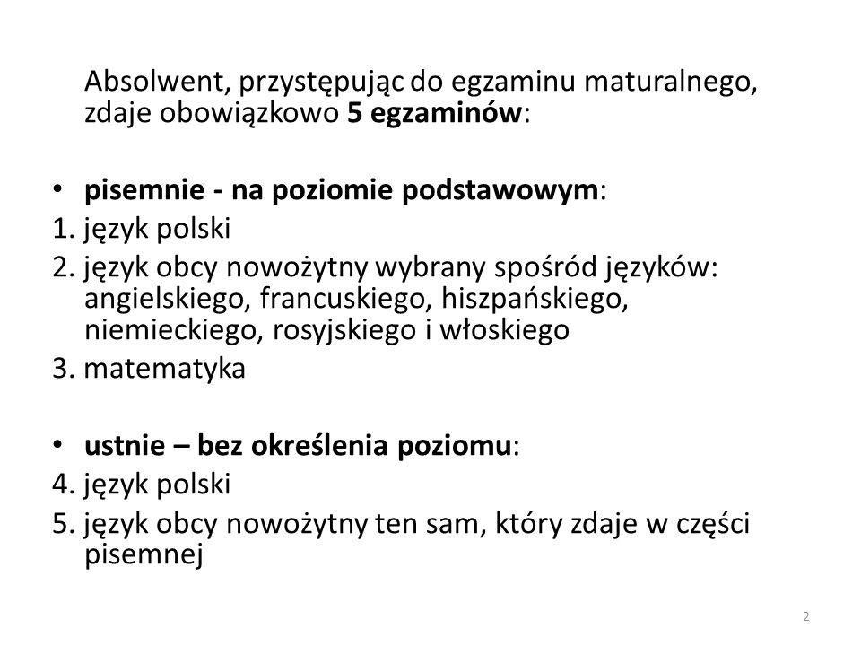 Absolwent, przystępując do egzaminu maturalnego, zdaje obowiązkowo 5 egzaminów: pisemnie - na poziomie podstawowym: 1. język polski 2. język obcy nowo