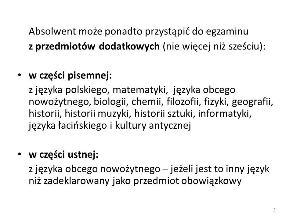 Absolwent może ponadto przystąpić do egzaminu z przedmiotów dodatkowych (nie więcej niż sześciu): w części pisemnej: z języka polskiego, matematyki, j