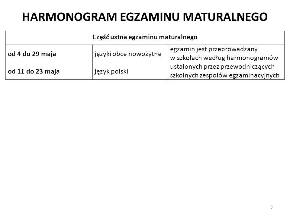 HARMONOGRAM EGZAMINU MATURALNEGO Część ustna egzaminu maturalnego od 4 do 29 majajęzyki obce nowożytne egzamin jest przeprowadzany w szkołach według h