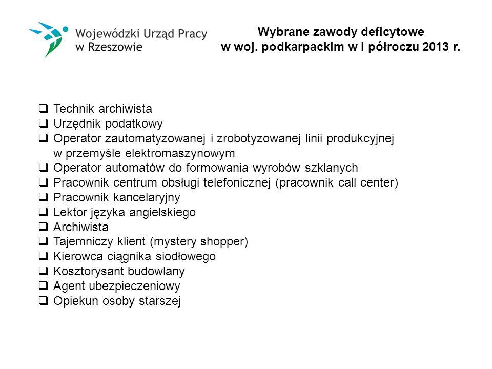 Wybrane zawody deficytowe w woj. podkarpackim w I półroczu 2013 r.