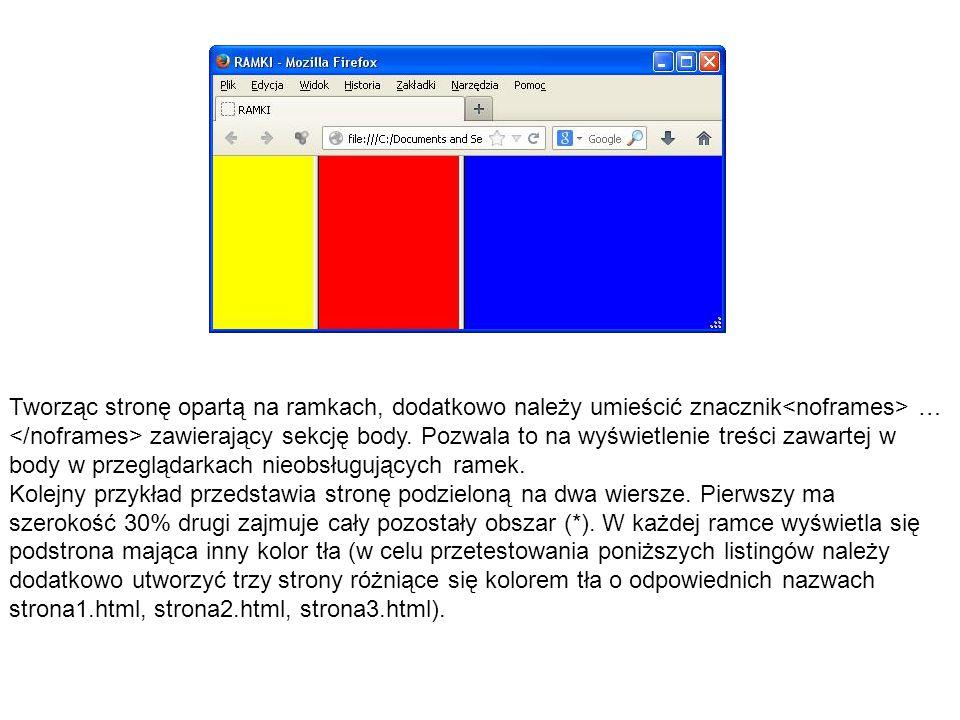 Tworząc stronę opartą na ramkach, dodatkowo należy umieścić znacznik … zawierający sekcję body. Pozwala to na wyświetlenie treści zawartej w body w pr