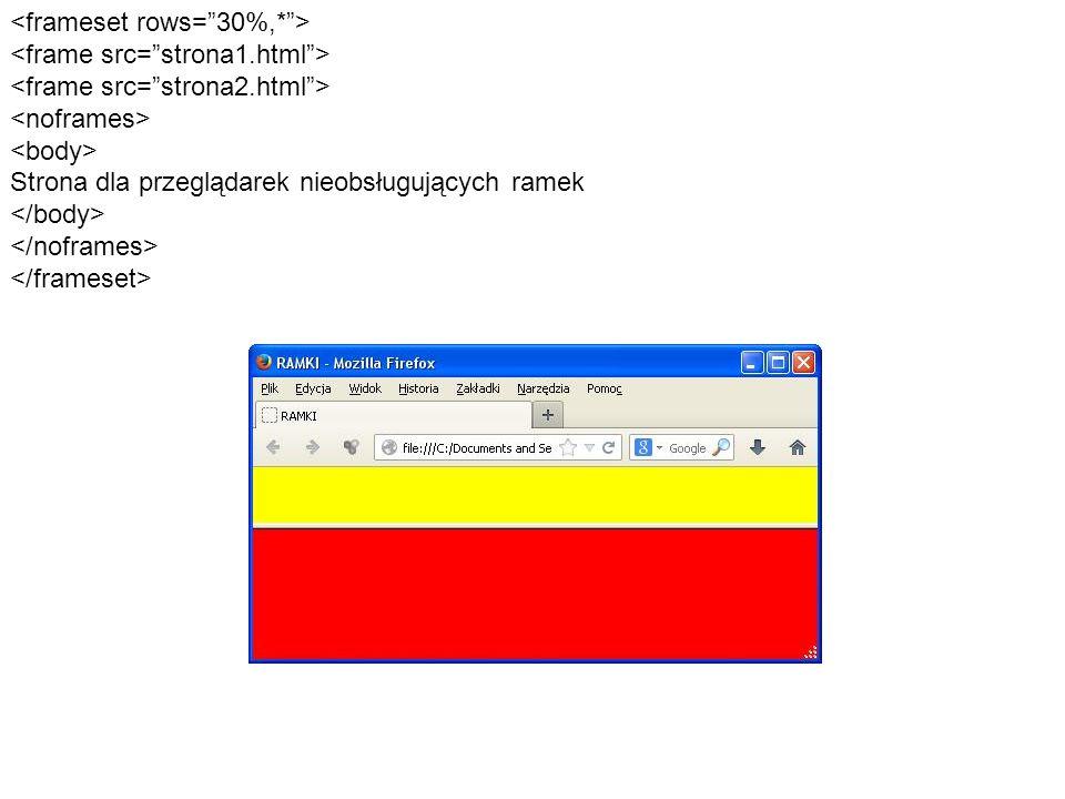 Znacznik frame może przyjmować kilka dodatkowych atrybutów: - noresize – pozwala na zablokowanie zmiany rozmiaru ramki - frameborder – określa, czy obramowanie ramki będzie widoczne (wartość 1 – obramowanie widoczne, wartość 0 – obramowanie niewidoczne) - scrolling – określa, czy suwaki przewijania zawartości ramki mają być widoczne (wartość yes – suwak widoczny, no – suwak niewidoczny, auto – suwak pojawi się, gdy jej zawartość nie zmieści się w całości na ekranie) - marginwidth – szerokość marginesu poziomego, mierzona w pikselach - marginheight – wysokość marginesu pionowego, mierzona w pikselach - name – pozwala nadać ramce nazwę Następny przykład prezentuje, w jaki sposób można zagnieździć ramki.