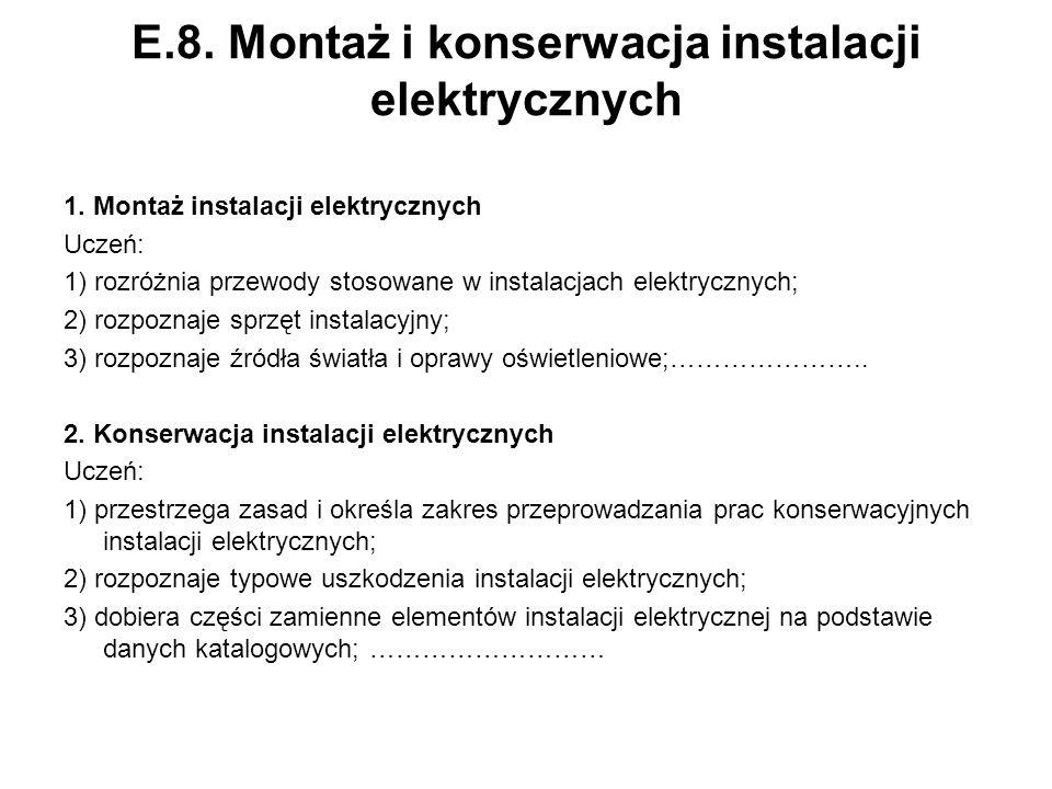 E.8. Montaż i konserwacja instalacji elektrycznych 1. Montaż instalacji elektrycznych Uczeń: 1) rozróżnia przewody stosowane w instalacjach elektryczn