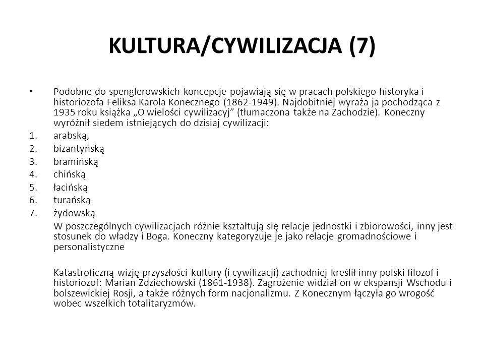 KULTURA/CYWILIZACJA (7) Podobne do spenglerowskich koncepcje pojawiają się w pracach polskiego historyka i historiozofa Feliksa Karola Konecznego (186