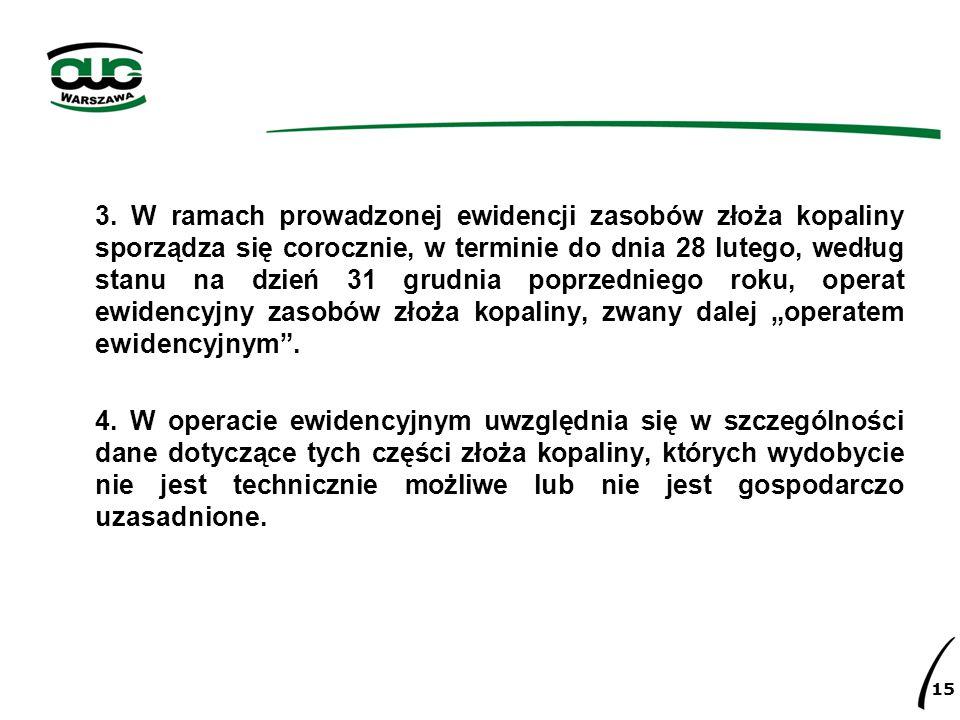 3. W ramach prowadzonej ewidencji zasobów złoża kopaliny sporządza się corocznie, w terminie do dnia 28 lutego, według stanu na dzień 31 grudnia poprz