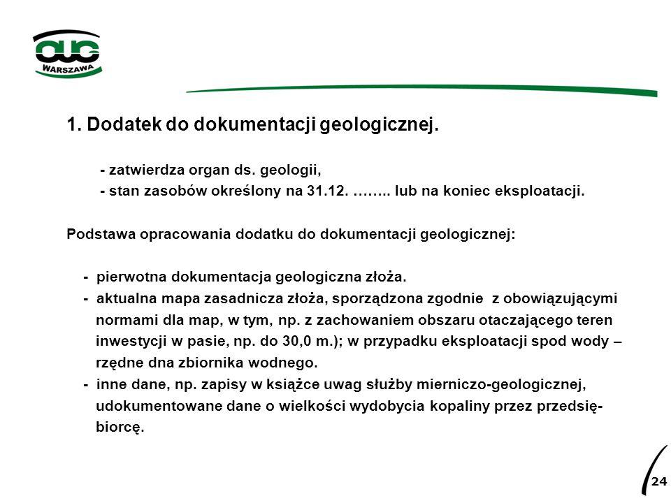 1. Dodatek do dokumentacji geologicznej. - zatwierdza organ ds. geologii, - stan zasobów określony na 31.12. …….. lub na koniec eksploatacji. Podstawa