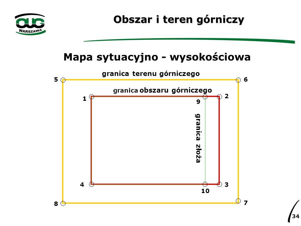 34 Obszar i teren górniczy Mapa sytuacyjno - wysokościowa granica terenu górniczego granica obszaru górniczego granica złoża 56 7 8 1 9 2 3 10 4