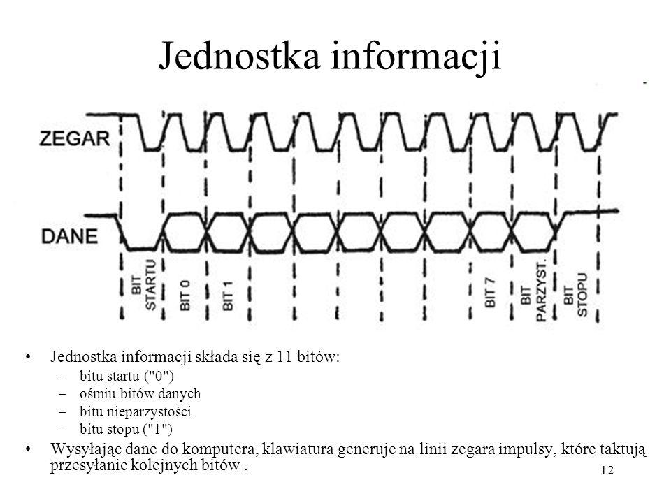 12 Jednostka informacji Jednostka informacji składa się z 11 bitów: –bitu startu (