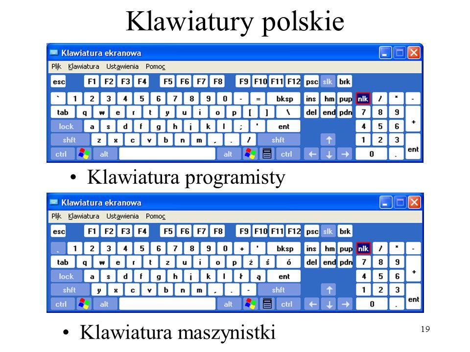 19 Klawiatury polskie Klawiatura maszynistki Klawiatura programisty