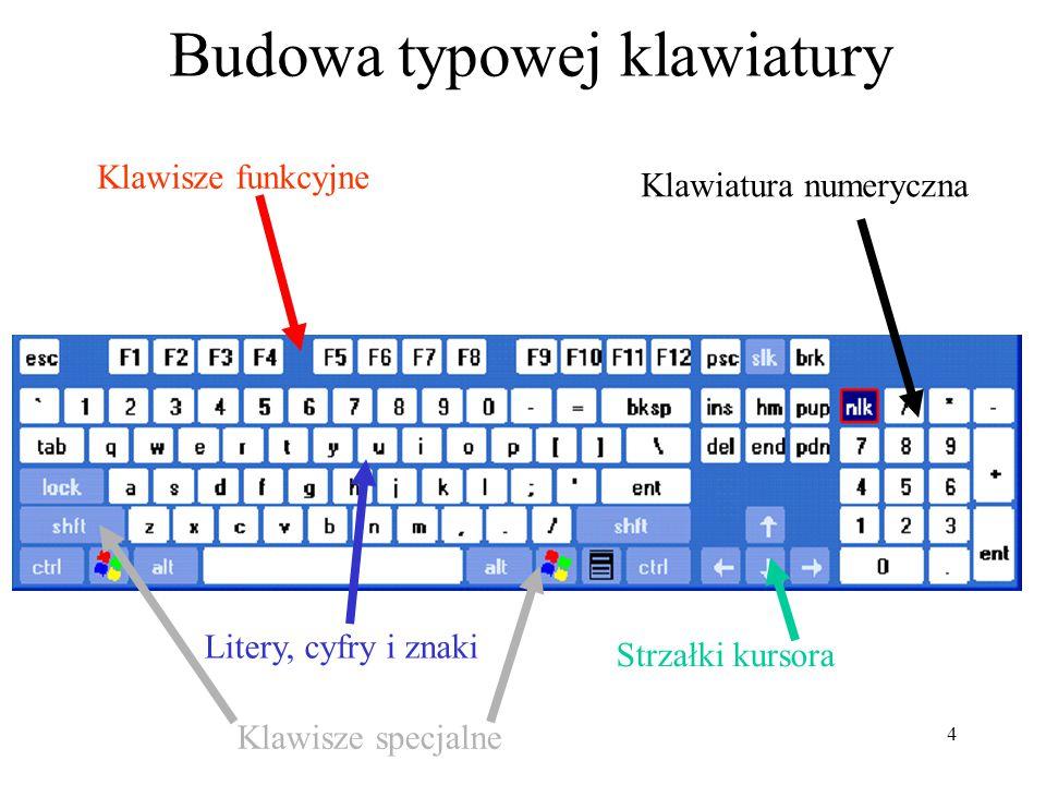 4 Budowa typowej klawiatury Klawisze funkcyjne Klawiatura numeryczna Litery, cyfry i znaki Strzałki kursora Klawisze specjalne