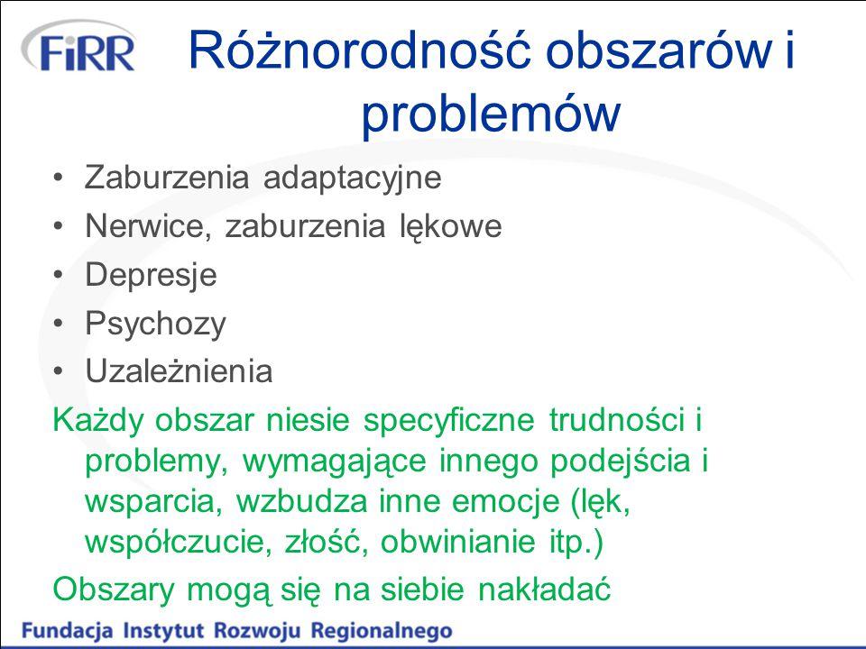 Różnorodność obszarów i problemów Zaburzenia adaptacyjne Nerwice, zaburzenia lękowe Depresje Psychozy Uzależnienia Każdy obszar niesie specyficzne tru