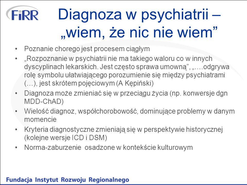 """Diagnoza w psychiatrii – """"wiem, że nic nie wiem Nazwa choroby, """"etykietka nic nie mówi o aktualnym stanie, możliwościach, ograniczeniach, sprawności/niepełnosprawności, trafności deficytów Medykalizacja: nieśmiałość-fobia społeczna, smutek-depresja """"dziś każdy ma depresję , """"weź się w garść"""
