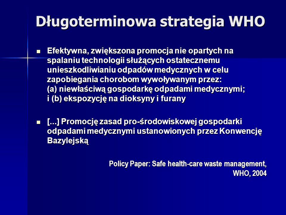 Długoterminowa strategia WHO Efektywna, zwiększona promocja nie opartych na spalaniu technologii służących ostatecznemu unieszkodliwianiu odpadów medy