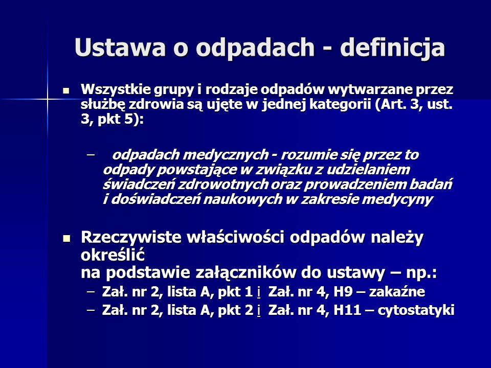 Ustawa o odpadach - definicja Wszystkie grupy i rodzaje odpadów wytwarzane przez służbę zdrowia są ujęte w jednej kategorii (Art. 3, ust. 3, pkt 5): W