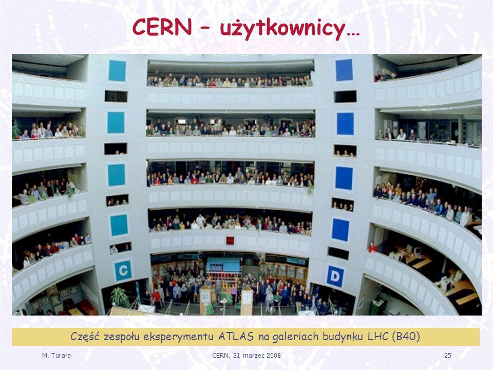 M. Turała25CERN, 31 marzec 2008 CERN – użytkownicy… Część zespołu eksperymentu ATLAS na galeriach budynku LHC (B40)