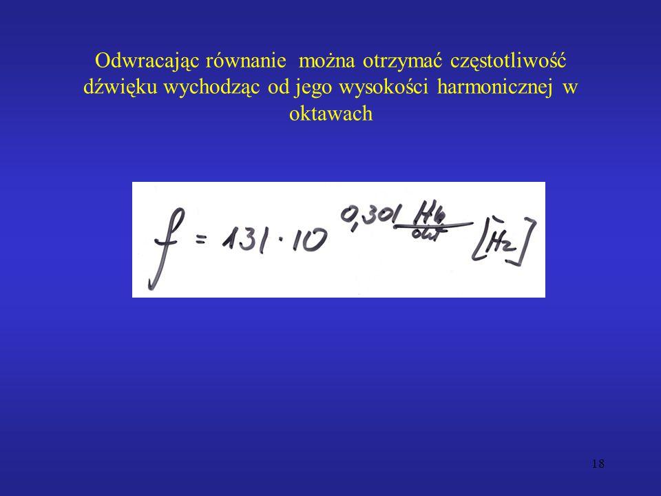 18 Odwracając równanie można otrzymać częstotliwość dźwięku wychodząc od jego wysokości harmonicznej w oktawach