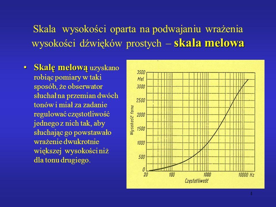 4 skala melowa Skala wysokości oparta na podwajaniu wrażenia wysokości dźwięków prostych – skala melowa Skalę melowąSkalę melową uzyskano robiąc pomiary w taki sposób, że obserwator słuchał na przemian dwóch tonów i miał za zadanie regulować częstotliwość jednego z nich tak, aby słuchając go powstawało wrażenie dwukrotnie większej wysokości niż dla tonu drugiego.