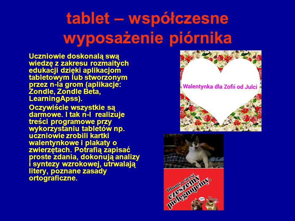 tablet – współczesne wyposażenie piórnika Uczniowie doskonalą swą wiedzę z zakresu rozmaitych edukacji dzięki aplikacjom tabletowym lub stworzonym prz