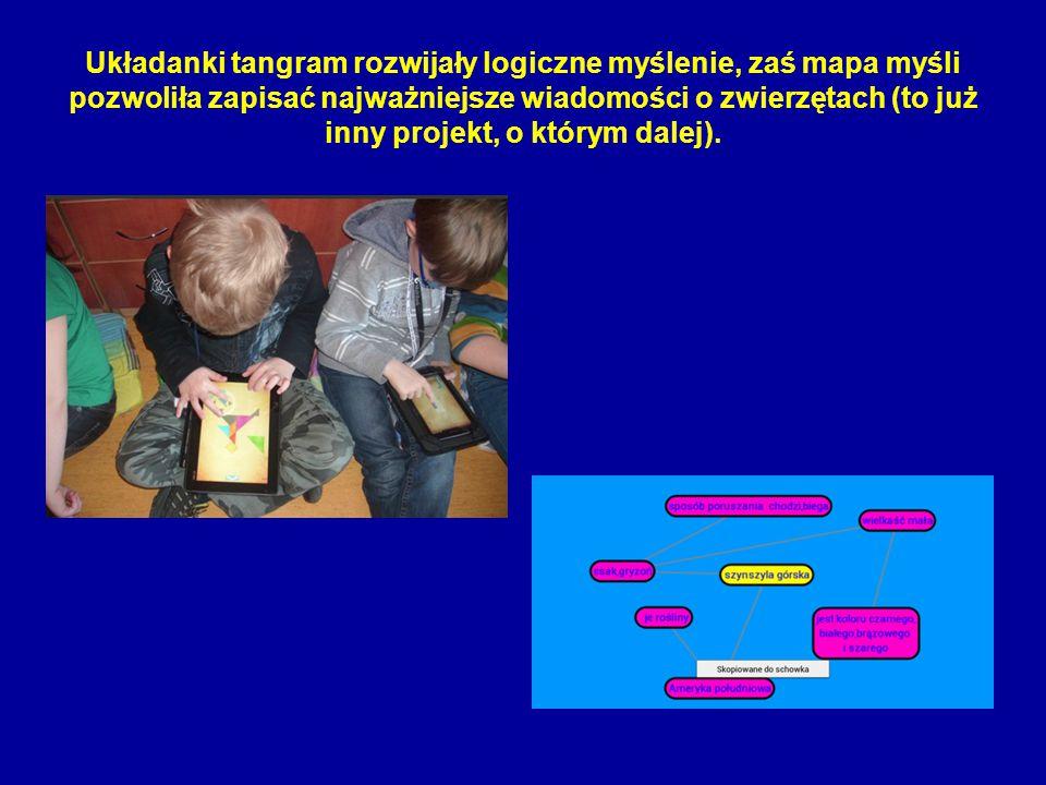 Układanki tangram rozwijały logiczne myślenie, zaś mapa myśli pozwoliła zapisać najważniejsze wiadomości o zwierzętach (to już inny projekt, o którym