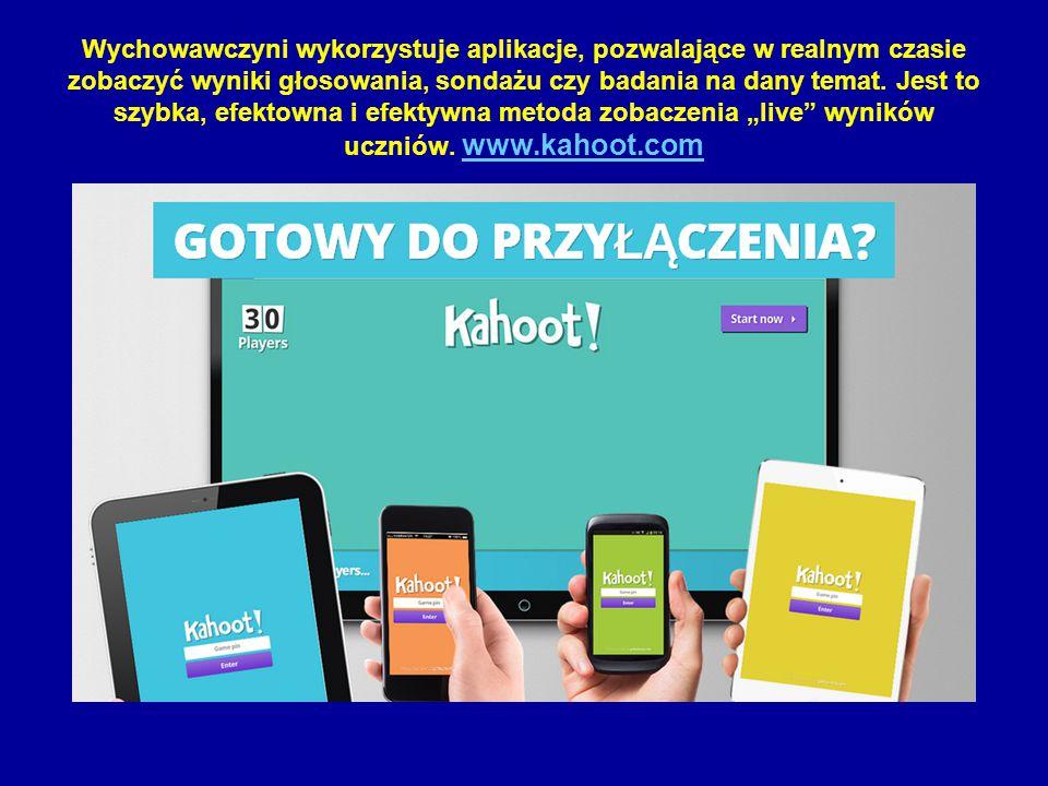 Wychowawczyni wykorzystuje aplikacje, pozwalające w realnym czasie zobaczyć wyniki głosowania, sondażu czy badania na dany temat. Jest to szybka, efek