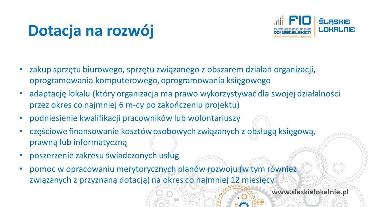 www.slaskielokalnie.pl zakup sprzętu biurowego, sprzętu związanego z obszarem działań organizacji, oprogramowania komputerowego, oprogramowania księgo