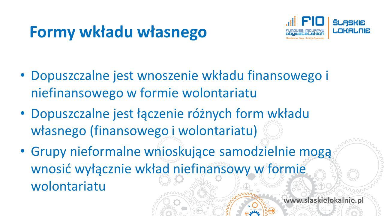 www.slaskielokalnie.pl Dopuszczalne jest wnoszenie wkładu finansowego i niefinansowego w formie wolontariatu Dopuszczalne jest łączenie różnych form w