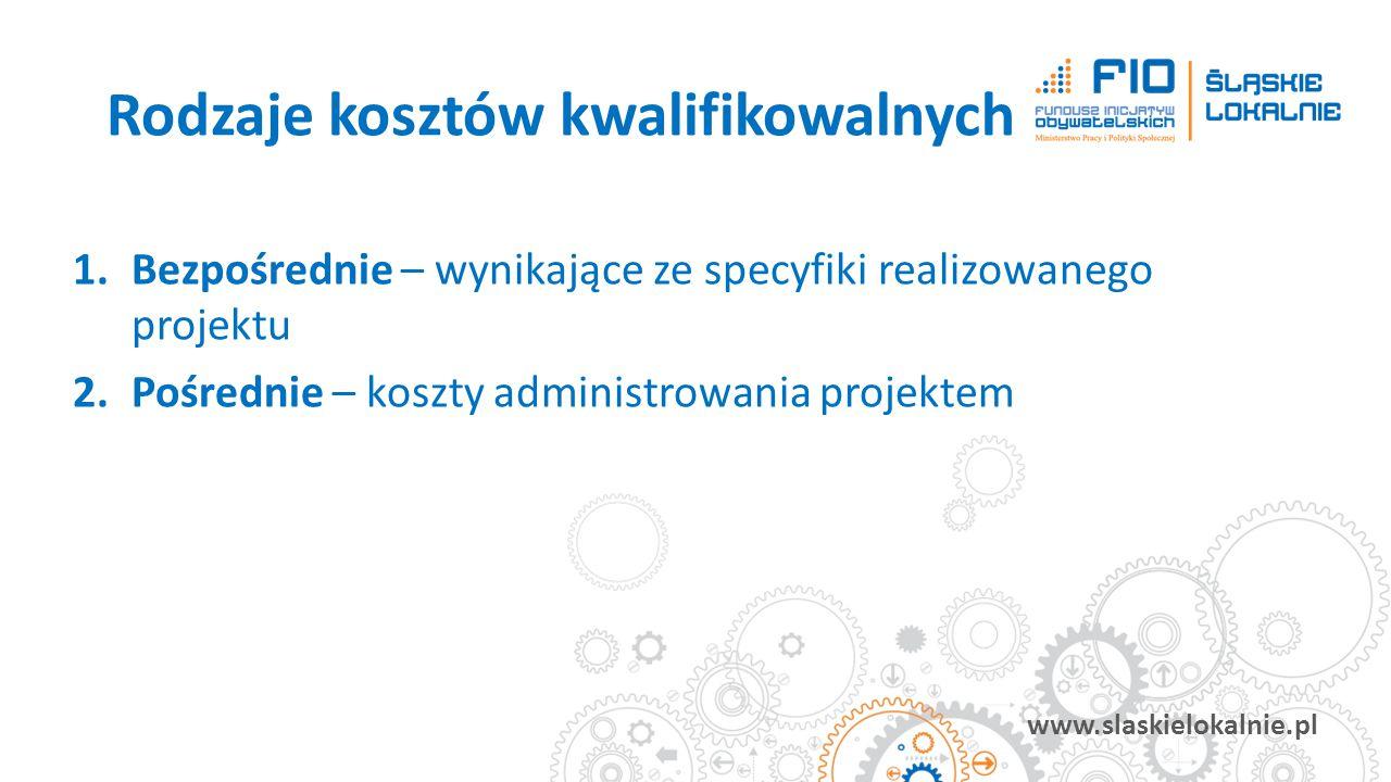 www.slaskielokalnie.pl 1.Bezpośrednie – wynikające ze specyfiki realizowanego projektu 2.Pośrednie – koszty administrowania projektem Rodzaje kosztów