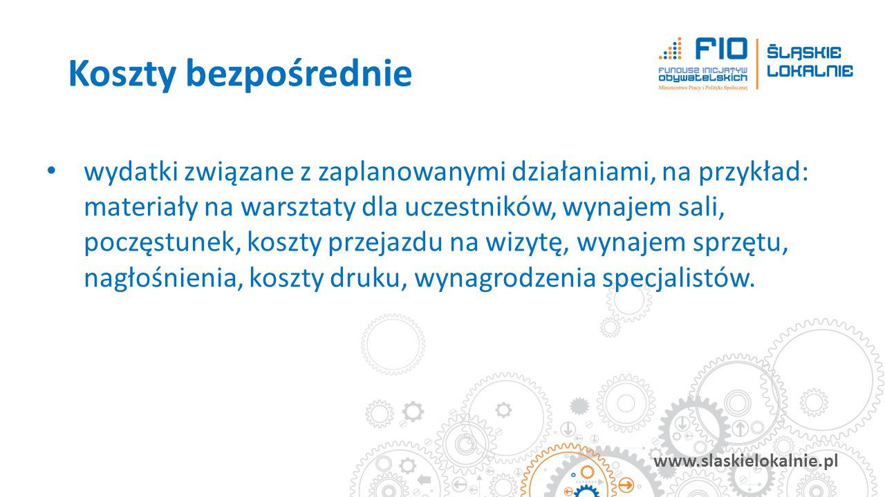 www.slaskielokalnie.pl wydatki związane z zaplanowanymi działaniami, na przykład: materiały na warsztaty dla uczestników, wynajem sali, poczęstunek, k
