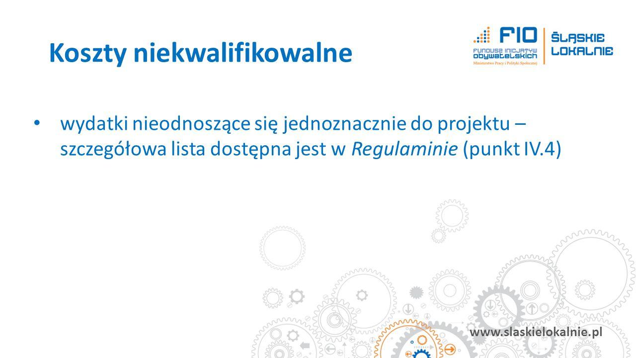 www.slaskielokalnie.pl wydatki nieodnoszące się jednoznacznie do projektu – szczegółowa lista dostępna jest w Regulaminie (punkt IV.4) Koszty niekwali